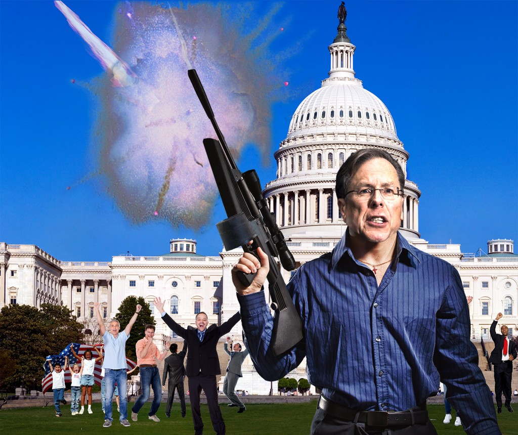 Earth Celebrates as Wayne LaPierre Single-Handedly Diverts Deadly Meteor with Bushmaster Rifle, 100 Round Drum